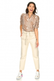 Aaiko |  Blouse with zebra print Taciana | brown   | Picture 3