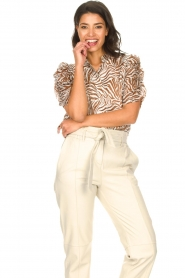 Aaiko |  Blouse with zebra print Taciana | brown   | Picture 2