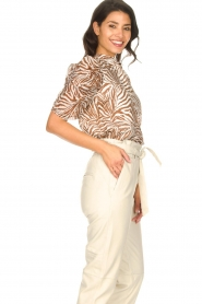Aaiko |  Blouse with zebra print Taciana | brown   | Picture 5