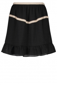 Aaiko |  Striped skirt Semeline | black  | Picture 1