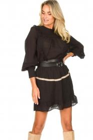 Aaiko |  Striped skirt Semeline | black  | Picture 4