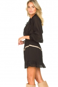 Aaiko |  Striped skirt Semeline | black  | Picture 5
