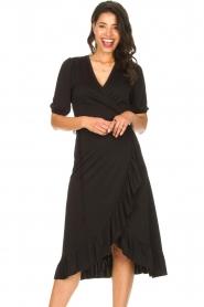 Aaiko |  Midi wrap dress Margit | black  | Picture 4