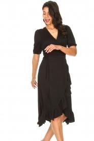 Aaiko |  Midi wrap dress Margit | black  | Picture 5