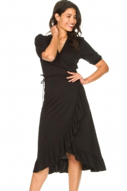 Aaiko |  Midi wrap dress Margit | black  | Picture 2