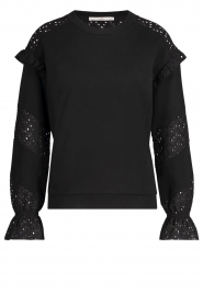 Aaiko |  Cotton sweater with ruffles Sharry | black  | Picture 1