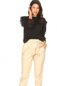 Aaiko |  Cotton sweater with ruffles Sharry | black  | Picture 2