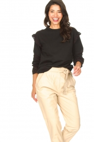 Aaiko |  Cotton sweater with ruffles Sharry | black  | Picture 5