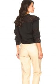 Aaiko |  Cotton sweater with ruffles Sharry | black  | Picture 7