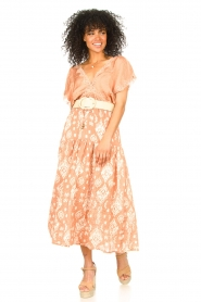 Louizon |  Maxi skirt with drawstring | nude  | Picture 3