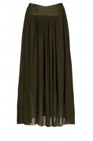 Louizon |  Maxi skirt with crêpe effect Baffau | green  | Picture 1