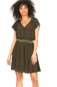 Louizon |  Crêpe dress Bouza | green  | Picture 5
