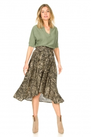 Louizon |  Leaf printed midi skirt Zilio | green  | Picture 3