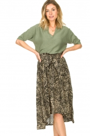 Louizon |  Leaf printed midi skirt Zilio | green  | Picture 2