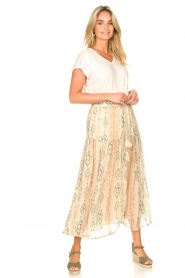 Louizon |  Maxi skirt with drawstring Jarno | nude  | Picture 2