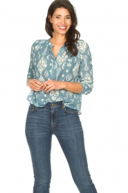 Louizon |  Cotton blouse Sain Bart | blue  | Picture 2