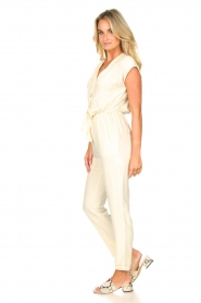 Louizon |  Jumpsuit with tie waistbelt Cyclade | natural  | Picture 4