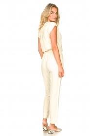 Louizon |  Jumpsuit with tie waistbelt Cyclade | natural  | Picture 5