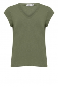 CC Heart |  Cotton mix v-neck T-shirt Vera | green  | Picture 1