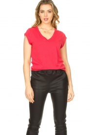 CC Heart |  Cotton mix v-neck T-shirt Vera | red  | Picture 3