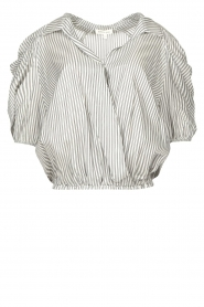Kocca |  Cropped blouse with silver lurex Amani | black  | Picture 1