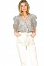 Kocca :  Cropped blouse with silver lurex Amani | black - img5