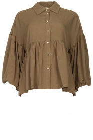 Kocca |  Blouse with wide sleeves | green