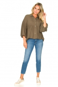 Kocca |  Blouse with wide sleeves | green  | Picture 2