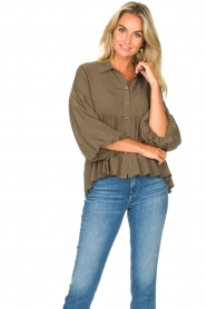 Kocca |  Blouse with wide sleeves | green  | Picture 3