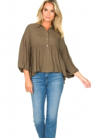 Kocca |  Blouse with wide sleeves | green  | Picture 4