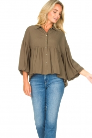 Kocca |  Blouse with wide sleeves | green  | Picture 5