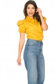 Kocca |  Poplin blouse Purca | yellow  | Picture 4