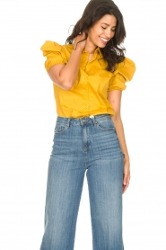 Kocca |  Poplin blouse Purca | yellow  | Picture 6