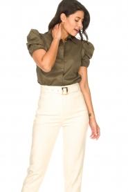 Kocca |  Poplin blouse Purca | green  | Picture 5
