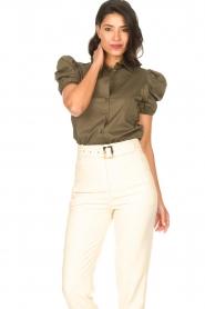 Kocca |  Poplin blouse Purca | green  | Picture 4