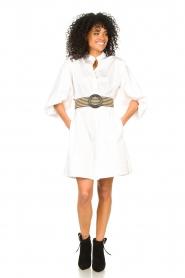 Kocca |  Cotton blouse dress with waistbelt Tanushri | white  | Picture 3
