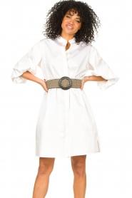 Kocca |  Cotton blouse dress with waistbelt Tanushri | white  | Picture 2