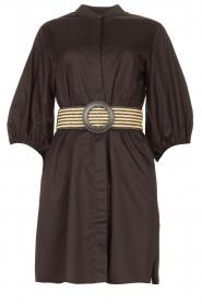 Kocca |  Cotton blouse dress with waistbelt Tanushri | black  | Picture 1
