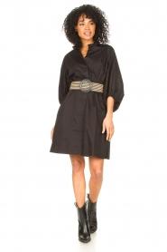 Kocca |  Cotton blouse dress with waistbelt Tanushri | black  | Picture 3