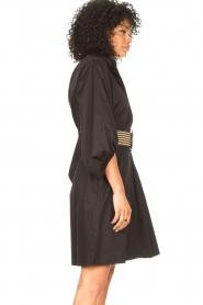 Kocca |  Cotton blouse dress with waistbelt Tanushri | black  | Picture 7