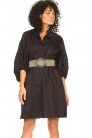 Kocca |  Cotton blouse dress with waistbelt Tanushri | black  | Picture 5
