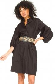 Kocca |  Cotton blouse dress with waistbelt Tanushri | black  | Picture 2