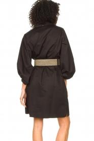 Kocca |  Cotton blouse dress with waistbelt Tanushri | black  | Picture 8