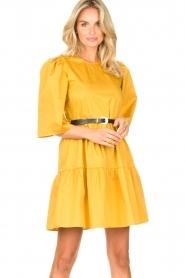 Kocca |  Poplin dress Nandini | yellow  | Picture 4