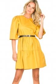 Kocca |  Poplin dress Nandini | yellow  | Picture 5