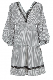 Kocca |  Striped dress with balloon sleeves Bikila | black  | Picture 1