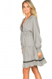 Kocca |  Striped dress with balloon sleeves Bikila | black  | Picture 5