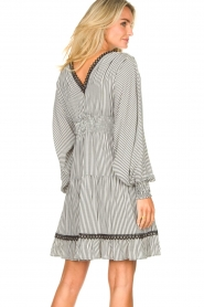 Kocca |  Striped dress with balloon sleeves Bikila | black  | Picture 6