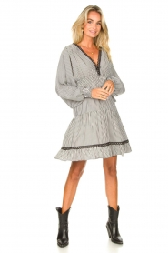 Kocca |  Striped dress with balloon sleeves Bikila | black  | Picture 3