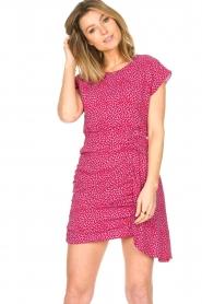 Kocca |  Printed drape dress Kimani | red   | Picture 2